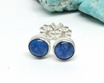 Blue Stud Earrings, Denim Lapis, Sterling Silver Studs, Gift for Her