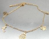 Gold Leg Bracelet, Heart Bracelet, Handcrafted Yellow Gold Filled leg Bracelet, Hamsa, Romantic gift
