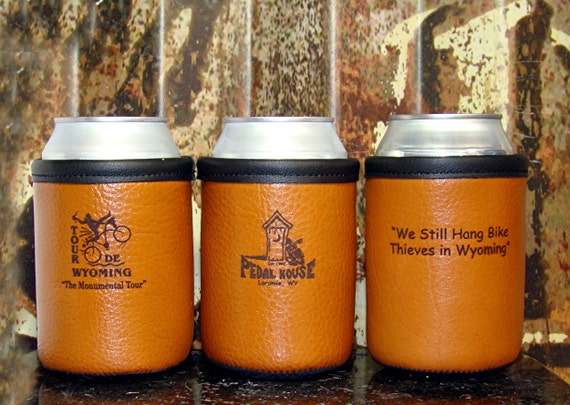 Bison Leather Beer Holder - 8 Customized Bison Leather Can Beverage Holders for Ranch, Corporate, Wedding, Cabin, Lake House, or Groomsmen -