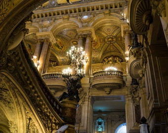 Garnier Opera Building Paris Photo Stairway Photograph Paris Architecture France Print Wall Art Home Decor par176
