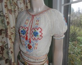 Lovely Bohemian Embroidered Blouse from Czechoslavkia - Size S-XS