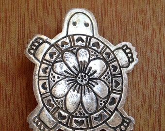 Darling Sterling Silver TURTLE Brooch Decorated with Hearts & Flowers