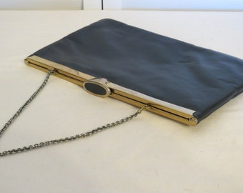 vintage Etra Navy Leather Clutch with Metal Chain Strap