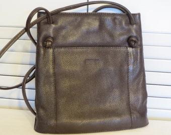 vintage Kenneth Cole Dark Brown Leather Tote with Shoulder Straps
