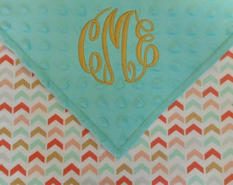 Personalized Monogrammed Baby Blanket Security Colorful Arrow Lovey Mint Gold Minky Baby Girl 18x18
