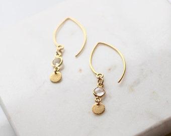 Clear Quartz Marquis earrings - long gold danglys - marquis gemstone earrings