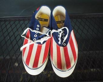 Vintage 1960s Patriotic US Flag Sneakers / Mens 10.5