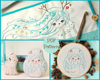 PDF. Hand embroidery Pattern. Fawn dolls.