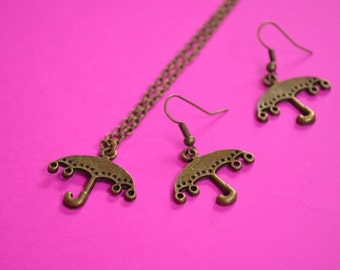 Umbrella Necklace and Earrings Set Antique Bronze Parasol (AB27)