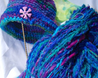 Hand spun yarn, Knitting yarn, hand dyed wool, art yarn, bulky worsted, Fiber and Textile, Crochet, weaving, Novelty yarn, two ply yarn