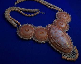 Peach Howlite Bead Embroidery