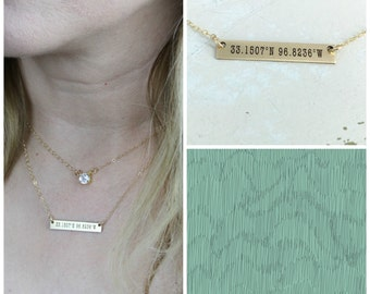 Coordinates bar necklace - Layering necklace - Sterling Silver, Gold-filled or Rose Gold-filled option- Custom Latitude & Longitude Necklace