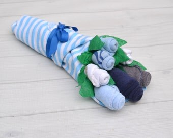 Baby Gift Set - Baby Shower Gift - Blue and Gray Baby Shower - Baby Flower Bouquet - Baby Boy Gift - Unique Baby Gift - Baby Basket