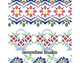 PDF Pattern - Cross Stitch Borders Pattern - Flowers - Floral - Digital Download - Basket