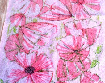 Vintage Terrycloth Bath Hand Towels - Pink Poppies