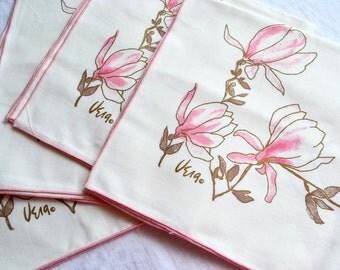 Vintage Vera Napkins - Pink Blossom Floral - Set of 4  NOS