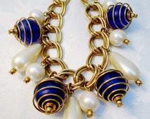 Vintage Atomic Pop Art Charm Bracelet Metal Swirled Caged Blue Beads 1960's Big Teardrop Pearls Mod Modern Geometric Abstract  Statement