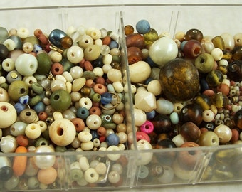 Beading Supplies Tray of Assorted Vintage Seed, Ceramic, Wood Beads Mixed Colors