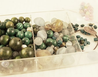 Beading Supplies Tray of Assorted Vintage Glass, Ceramic, Frosted, Wood Beads Mixed Colors Greens Blues Ambers