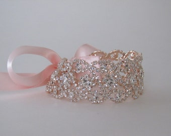 Rose Gold Rhinestone Crystal Bridal Cuff,Wedding Accessories, Bracelet,Crystal Bridal Bracelet,#B24