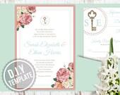 DIY Custom Wedding Invitation Suite - Antique Roses and Skeleton Keys for Rustic Wedding  - Customized Printable PDF