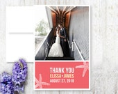 Starfish Beach Wedding Thank You Card  for Destination Wedding - Custom Printable PDF or Printed Folded Cards and Envelopes