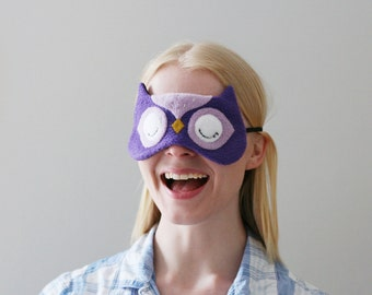 Purple Owl Sleep Mask, Cute Owl Accessory, Woodland Eyewear, Animal Gift for Her
