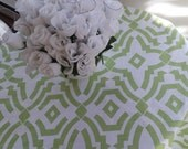 """RTS Round 54"""" tablecloth Chevelle kiwi green and white table cloth, dining, 413"""