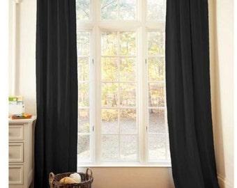 Solid color linen drapes, black, linen curtain panels, black linen panels