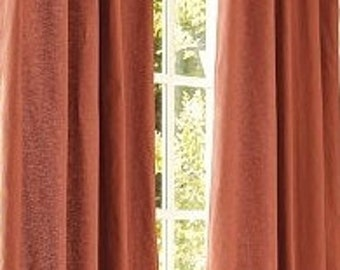"Grommet drapes, Pair (two 50"" W panels)  European linen drapes, window curtain panels spice,"