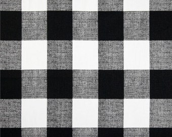 Black and white buffalo plaid, Tufted bench cushion, cotton, seat cushion,