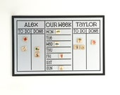 Large Chore Chart with Weekly Planner + 12 magnets  - 13 x 20 magnetic, personalized chore board
