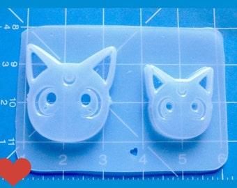 SALE 2 Kawaii Sailor Cat Heads Handmade Plastic Resin Mold