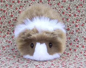 Brown Agouti and White Guinea Pig Handmade Plush Toy