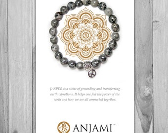 GREY LACE JASPER,Mala Bracelet,Beaded Bracelet,Wrist Mala,Yoga Bracelet,Yoga Jewelry,Inspirational,Gemstone Bracelet, Healing Jewelry