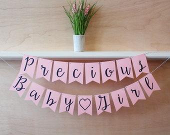 Precious Baby Girl Banner - Cursive Script - Custom Colors - Baby Shower Decoration