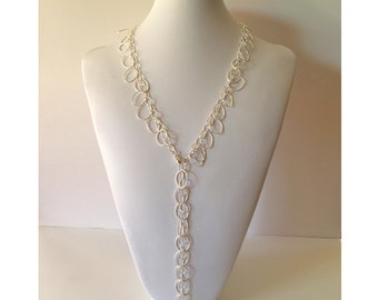 "Sterling Silver Long 28"" Boho Necklace Oval Dangles Lariat Sterling .925 chain necklace (ch360)"