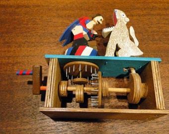 SALE Folk Art Lion Tamer Turning Mechanical