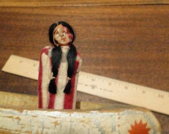 Native American Folk Art Wood Canoe Celluloid Doll