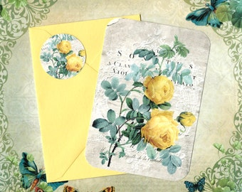 Note Cards, Roses, Rose Cards, Flat Note Cards, French, Stickers