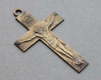 Large Antique Pilgrimage Crucifix / Shrine of the Little Flower Relic Crucifix