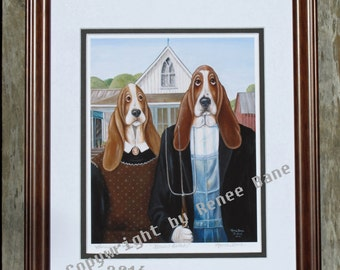 Basset Gothic - Framed Professional Giclee Print of a Renee Bane Original on Fine Art Paper - 11 x 14