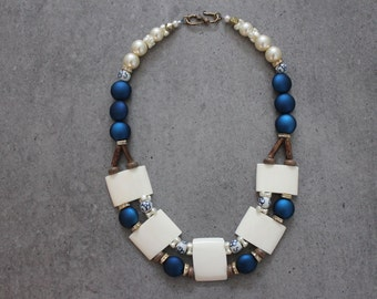 Stunning Statement Beaded Modern Tribal Collar Necklace with Bone, Wood, Pearls and Dark Blue Fuchsia Beads