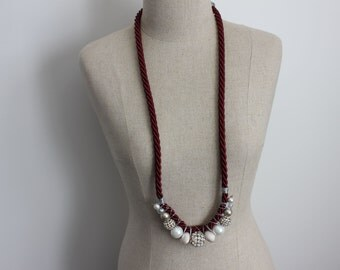 ON SALE Red Wine by Candlelight Long Burgandy Red Rope Beaded Necklace with Silver Crystal Balls and Pearls in Deep Red, White, Silver