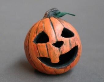 Tiny Jack O Lantern - One of a Kind - Pumpkin Head - Halloween - Dollhouse