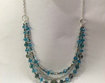 Sparkly Blue and Silver Multi Strand Necklace