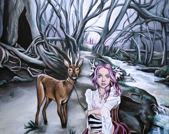 steampunk fairy tale illustration brother and sister deer and woman fine art print