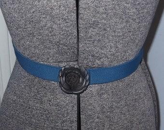 Blue Elastic Strech Belt With Plastic Rosette Buckle