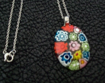 Vintage Fused Glass Daisy Pendant by Kari's
