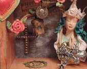 Religious Art, Wall or Table Art, Madonna Shadowbox, Shrine to Prayer, Reliquary with St Christopher medal, Up Cycled Art